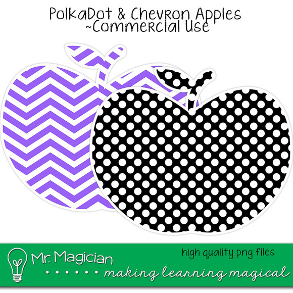 Polka Dot And Chevron Apples