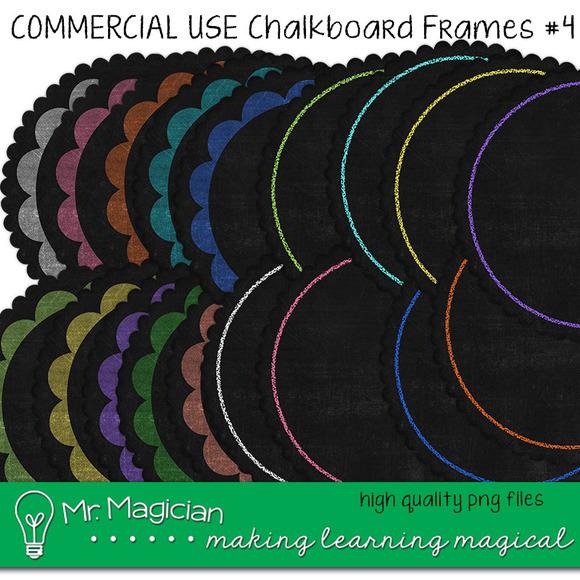Chalkboard Frames #4 ScallopedCircle