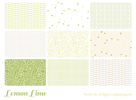 Lemon Lime 9 Web Tiles Digi Papers