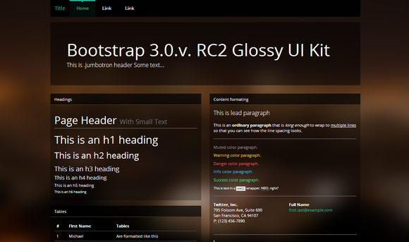 Bootstrap 3.0 Theme GlossyFlat