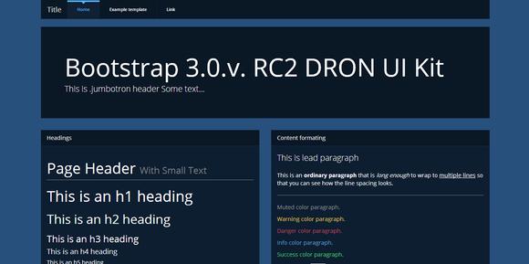Bootstrap 3.0 Theme DRON Dark UI