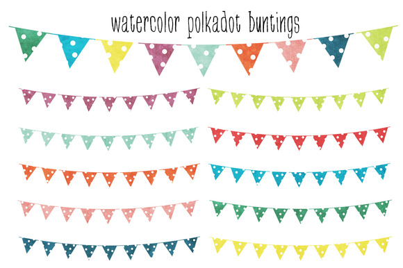 Watercolor Polkadot Buntings