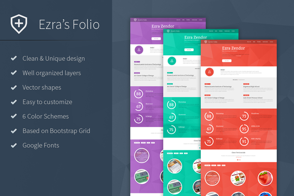 Ezra S Folio Resume PSD Template