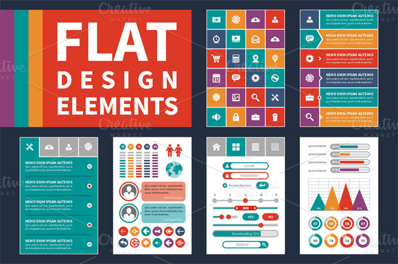 Flat Design Elements Icons Set