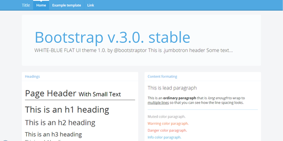 Bootstrap 3.0 RC2 Theme White-blue