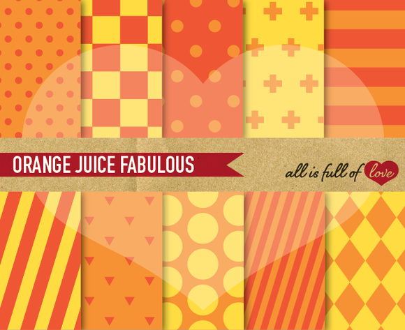 Orange Mixed Patterns For Print