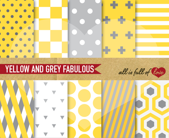 Yellow Grey Digital Papers