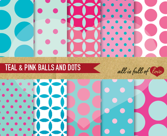 Teal Pink Digital Backgrounds