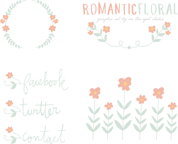 Romantic Floral Graphic Set