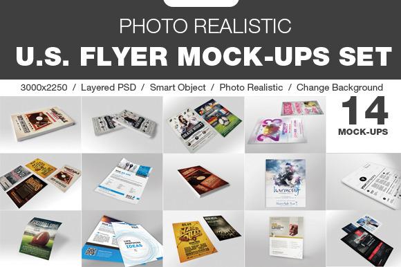 14 Photo Realistic Flyer Mock-Up Set