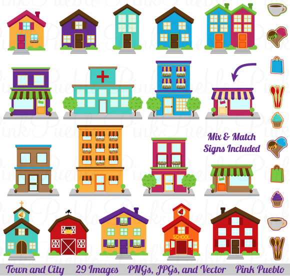 Town City Village Clipart Vector
