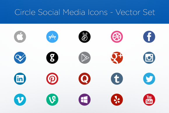 Circle Social Media Icons Vector Set