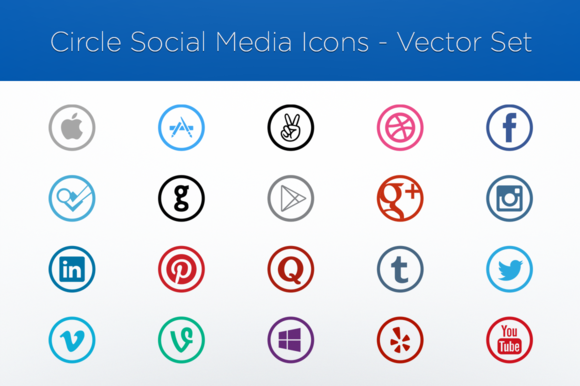 Vector Icon Set-Social Media-Circles