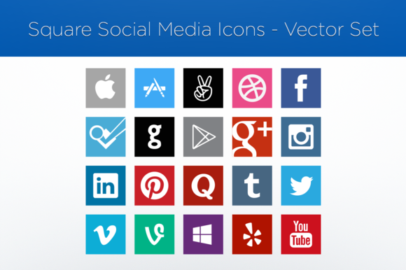 Square Social Media Icons-Vector Set