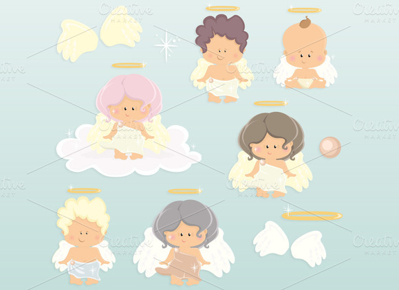 Sweet Angels- Clipart Set