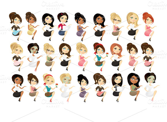 Woman Blog Characters- Set Of 27