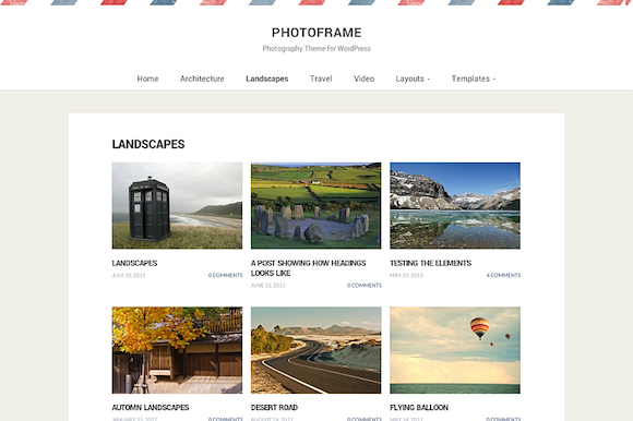 PhotoFrame WP Photography Theme
