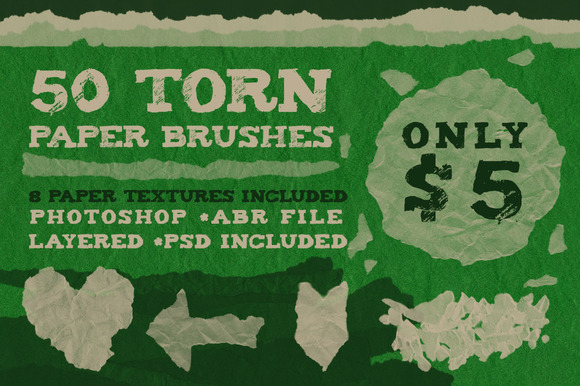 50 Torn Paper Brushes 8 Textures