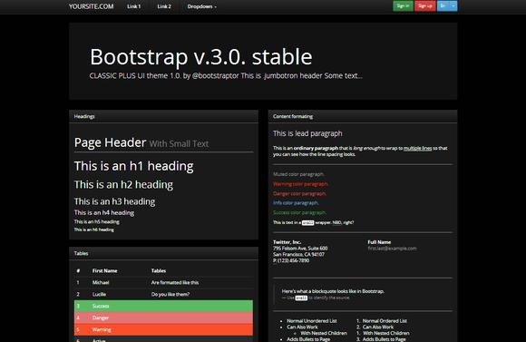 Bootstrap 3.0 Theme Classic Dark UI