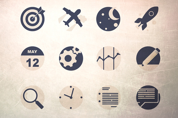 24 12 Rounded Flat Icons Pack