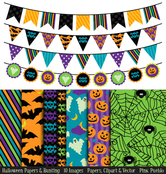 Halloween Bunting And Backgrounds