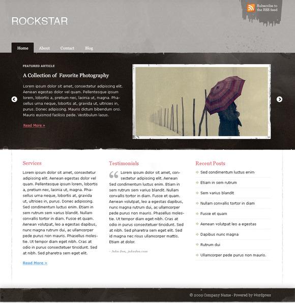 Grunge Rockstar Portfolio Blog PSD