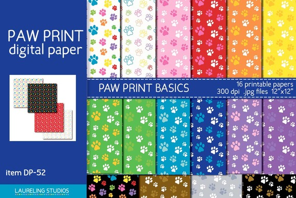 Paw Print Patterns Digital Paper