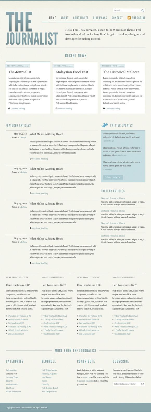 Journalist Blog Design PSD
