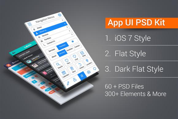 App UI PSD Kit In 3 Styles