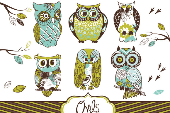 Owl Clip Art And Digital Paper Set