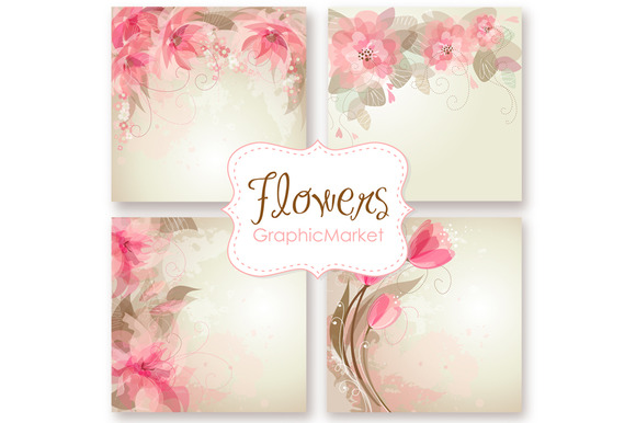 Wedding Floral Card Templates