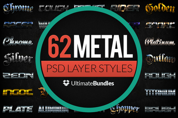 Metal Chrome Layer Styles Bundle