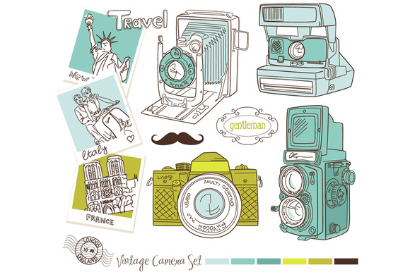 HandDrawn Vintage Camera Background