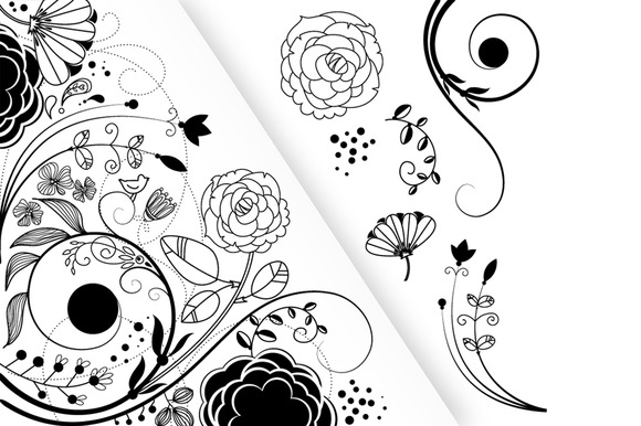 Flower Clip Art And A Floral Border
