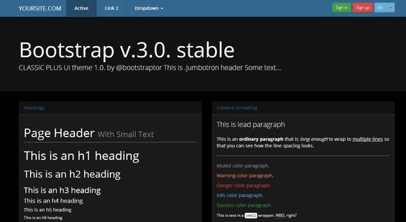 Bootstrap 3.0 Theme Black Blue Skin
