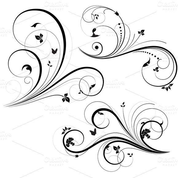 Swirl Floral Element Vector