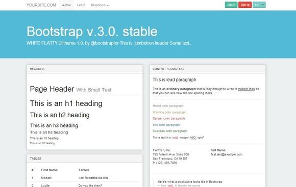 Bootstrap 3.0 WhiteFlatty Alt Theme