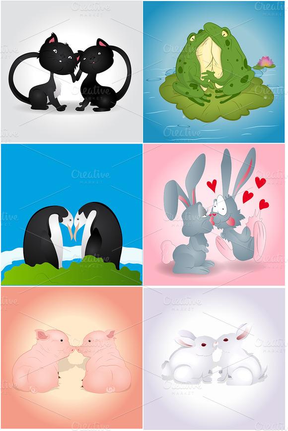 Valentine Animal Vectors