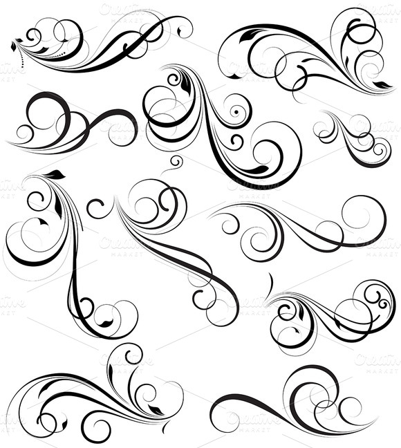 Swirly flower patterns designtube creative design content for Swirl tattoo designs