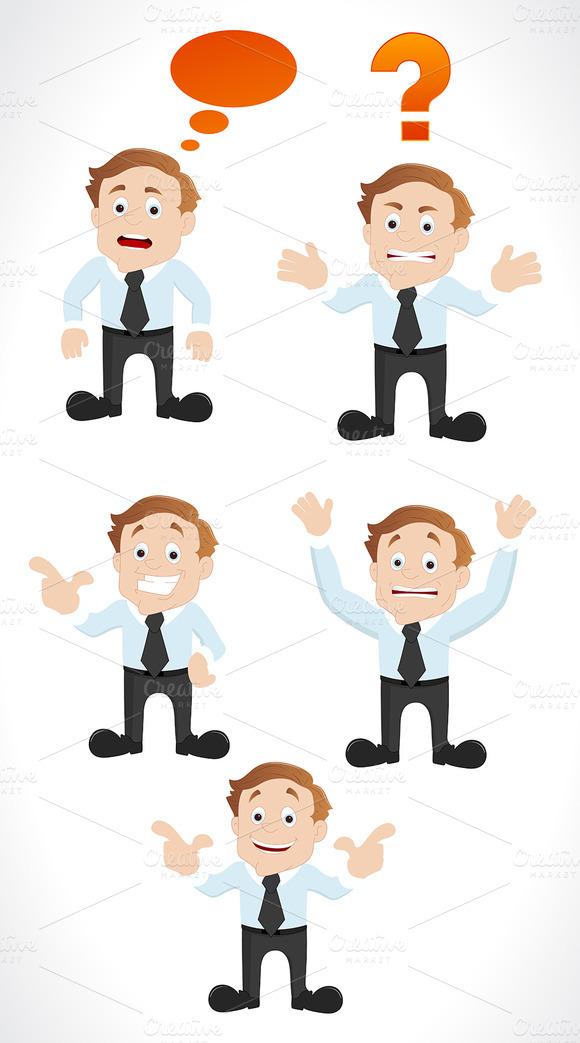Businessman Characters Poses Vectors