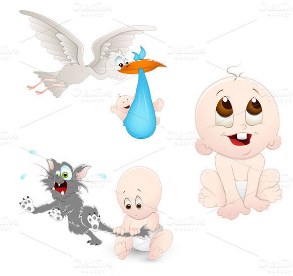 Babies Cartoons Vectors