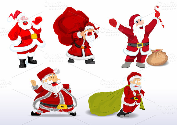 Funny Cartoon Santa Vectors