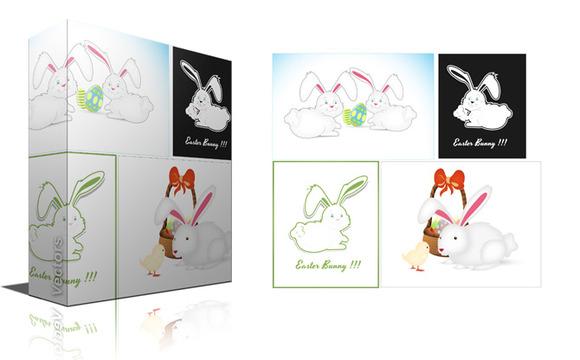 Easter Bunny Characters Vectors
