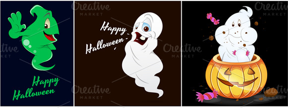 Halloween Ghosts Characters Vectors