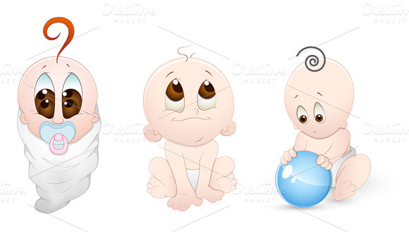 Cartoon Babies Vector Characters