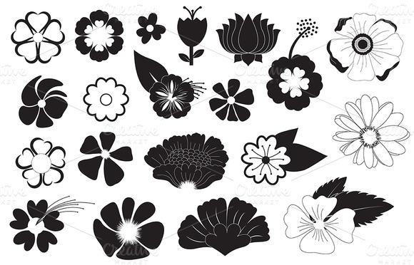 Flowers Silhouettes Vectors