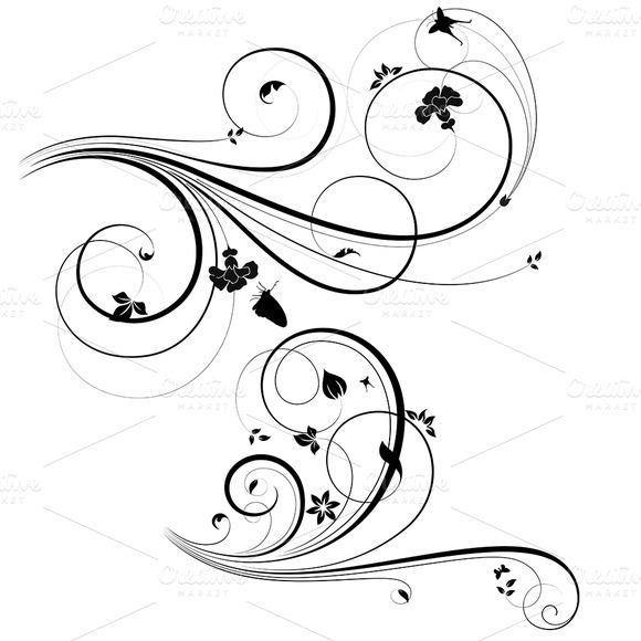 Swirls Floral Vectors