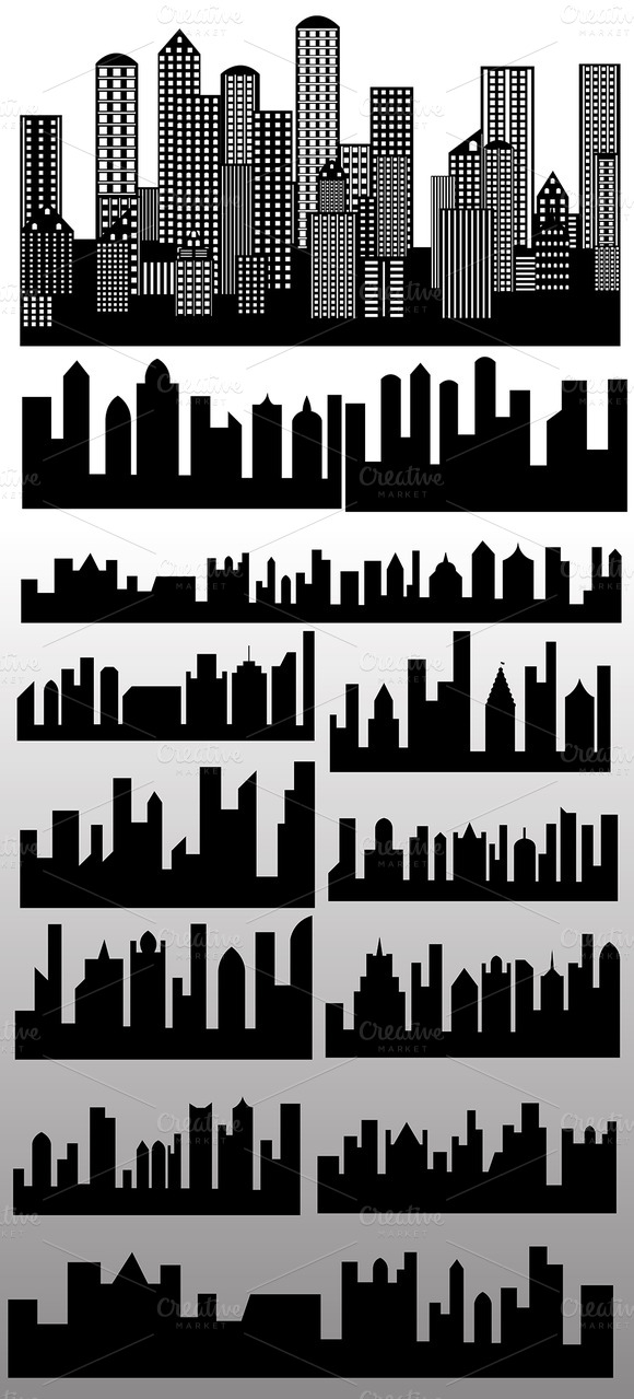 Skylines Buildings Silhouettes Vecto
