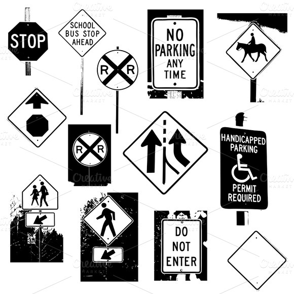 Traffic Signboards Vectors