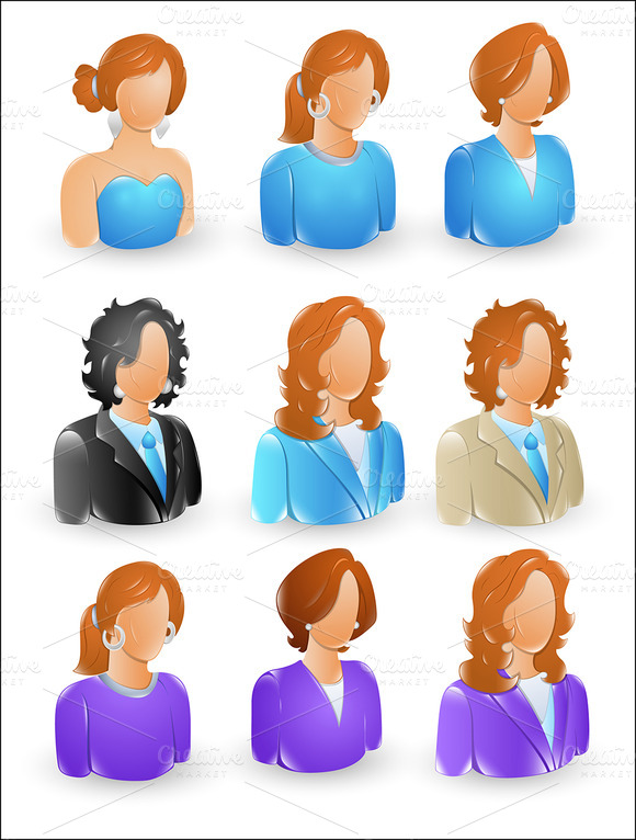 Female Profile Icons Collection